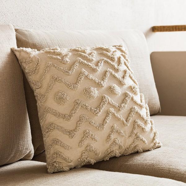 Θήκες για διακοσμητικά μαξιλάρια , (43x43) Gofis Home Wavy 186, βαμβακερή με ανάγλυφο Ethnic σχέδιο