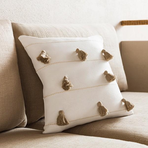 Θήκες για διακοσμητικά μαξιλάρια , (43x43) Gofis Home Pomy Μπεζ 188/06, βαμβακερή με ρίγα και φούντα