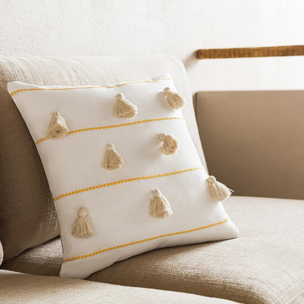Θήκες για διακοσμητικά μαξιλάρια , (43x43) Gofis Home Pomy Κροκί 188/10, βαμβακερή με ρίγα και φούντα