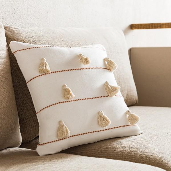 Θήκες για διακοσμητικά μαξιλάρια , (43x43) Gofis Home Pomy Perfect Tan 188/13, βαμβακερή με ρίγα και φούντα