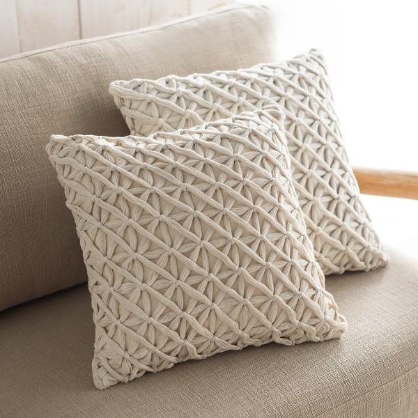 Θήκες για διακοσμητικά μαξιλάρια , (43x43) Gofis Home Ropy Εκρού 197/05, πλεκτή με χειροποίητους κόμπους