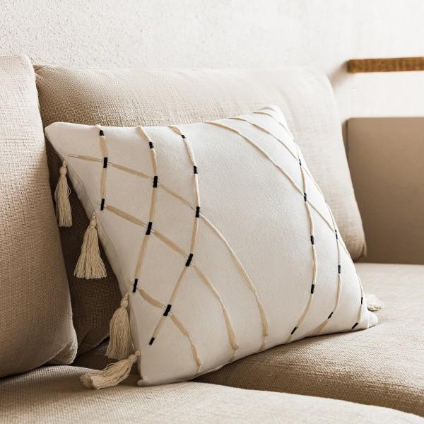 Θήκες για διακοσμητικά μαξιλάρια , (43x43) Gofis Home Sabi Off White 203/05, βαμβακερή με φουντάκια στο τελείωμα