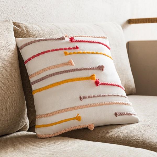 Θήκες για διακοσμητικά μαξιλάρια , (43x43) Gofis Home Tressy Funky 768 , χειροποίητη βαμβακερή με χρωματιστά σχοινιά