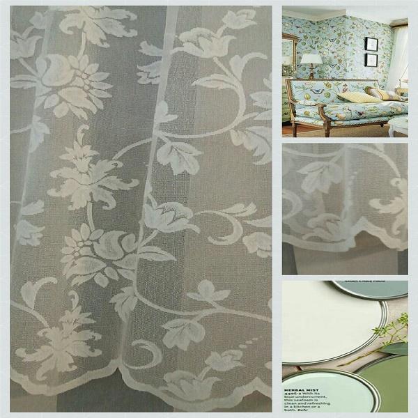 Κουρτινες - Κουρτίνες Έτοιμες Ραμμένες Υφάσματα για Σαλόνι , Καθιστικό, Τραπεζαρία , Υπνοδωμάτιο με ημι-διαφάνεια 140X270 BRUNELLA/2 εκρού floral δαντέλα με τελείωμα γλώσσες με απλή συνεχόμενη τρέσα 8εκ πολυεστερική