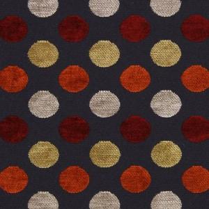 Υφάσματα Κουρτίνες με το μέτρο για Σαλόνι ,Υπνοδωμάτιο ,Καθιστικό PERKINS 36 πορτοκαλί μαύρο κόκκινο πουά ζακαρ chenille Φ280