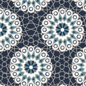 Υφάσματα Κουρτίνες με το μέτρο για Σαλόνι ,Υπνοδωμάτιο ,Καθιστικό MOROCCO 62 πετρολ εκρού μοτίβα ethnic digital βαμβακερό Φ280