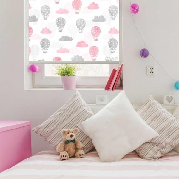 Ρολοκουρτίνα, Ρόλερ Σκίασης ,Στόρια , Κουρτινόξυλα για παιδικά δωμάτια, για κορίτσια , για αγόρια , για bebe δωμάτια, Dms_Kids ballons αερόστατα ροζ μερικής διαφάνειας .
