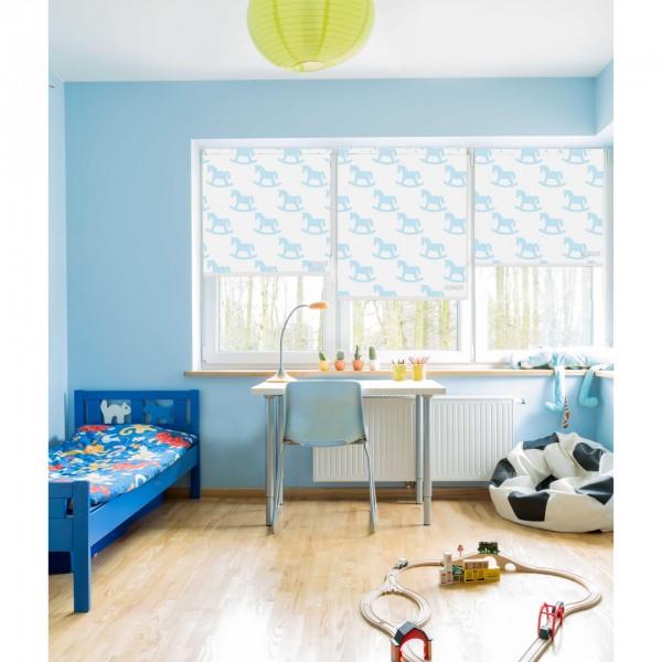 Ρολοκουρτίνα, Ρόλερ Σκίασης ,Στόρια , Κουρτινόξυλα για παιδικά δωμάτια, για κορίτσια , για αγόρια , για bebe δωμάτια, Dms_Kids wooden horses aqua μερικής διαφάνειας .