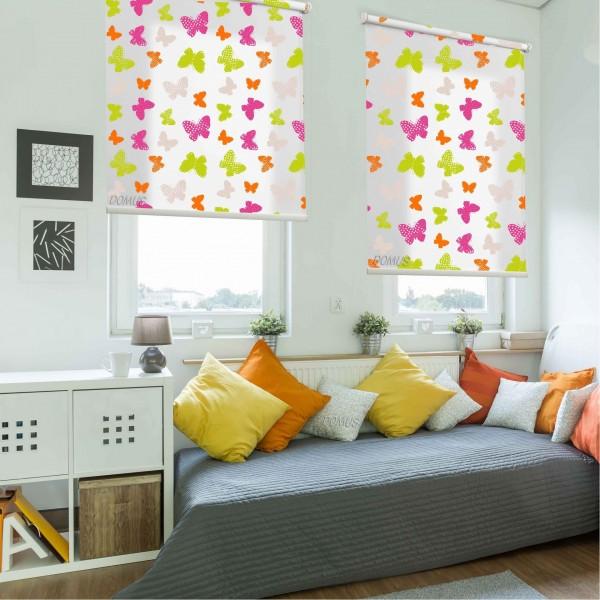 Ρολοκουρτίνα, Ρόλερ Σκίασης ,Στόρια , Κουρτινόξυλα για παιδικά δωμάτια, για κορίτσια , για αγόρια , για bebe δωμάτια, Dms_Kids πεταλούδες πολύχρωμες μερικής διαφάνειας .