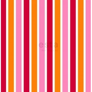 BAZAAR -Ταπετσαρία Τοίχου 114629 πορτοκαλί ροζ ρίγες
