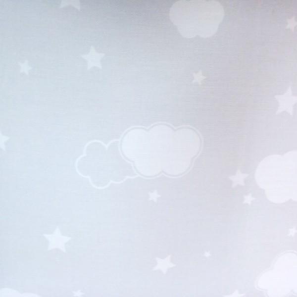 Κουρτίνες με το μέτρο για παιδικά εφηβικά δωμάτια, για κορίτσια , για αγόρια , για bebe δωμάτια Cielo 01 γκρι με εκρού συννεφάκια-αστεράκια digital print βαμβακερό Φ280 χωρίς διαφάνεια