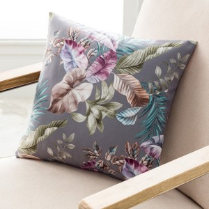 Θήκες για διακοσμητικά μαξιλάρια , βαμβακερές,(43Χ43) Gofis Home Evelin 106/15 Grey floral βελούδινο με ανεξίτηλα χρώματα