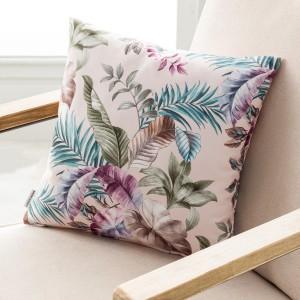Θήκες για διακοσμητικά μαξιλάρια , βαμβακερές,(43Χ43) Gofis Home Evelin 106/25 Powder Pink floral βελούδινο με ανεξίτηλα χρώματα