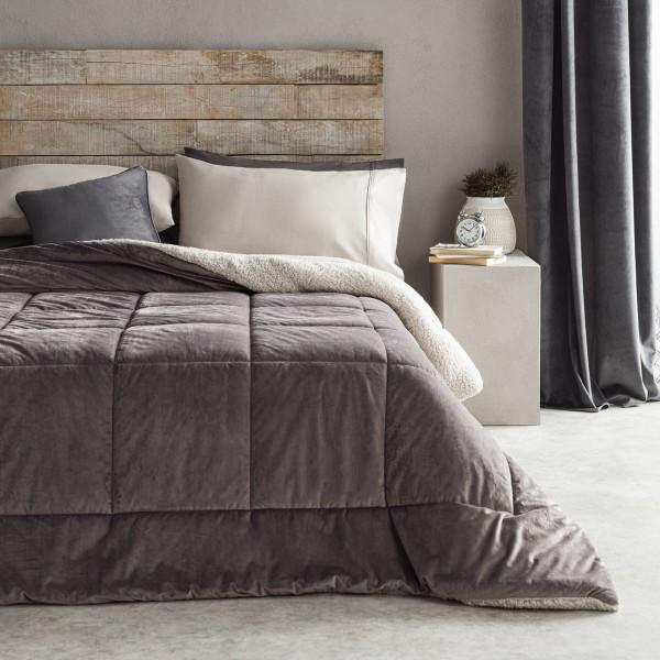 Κουβέρτες-Παπλώματα Μονά , Επιλεγμένες Συλλογές με ποιότητα και γούστο για κάθε δωμάτιο,160X22040cm Gofis Home Teddy 407/15 Grey βελούδινη με γούνα sheep shin στην πίσω όψη