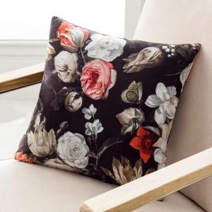 Θήκες για διακοσμητικά μαξιλάρια , βαμβακερές,(43Χ43) Gofis Home Spania 485 σε μαύρο βελούδινο ύφασμα με ανεξίτηλο floral μοτίβο
