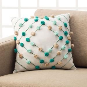 Θήκες για διακοσμητικά μαξιλάρια , βαμβακερές,chenille (43Χ43) Gofis Home Arty Cloud 187/11 Aqua βαμβακερή με ανάγλυφα POM-POM Συλλογή Άνοιξη-Καλοκαίρι 2019