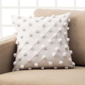 Θήκη Διακοσμητική (43Χ43) Gofis Home Arty Cloud 187/16 Λευκή βαμβακερή με ανάγλυφα POM-POM Συλλογή Άνοιξη-Καλοκαίρι 2019