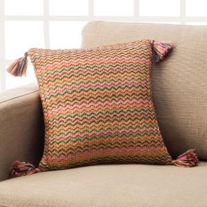 Θήκες για διακοσμητικά μαξιλάρια , βαμβακερές,chenille (43Χ43) Gofis Home Morocco 146 πλεκτή με πρωτότυπο πλαστικό νήμα που προσομοιάζει το νήμα από Γιούτα με ριγέ σχέδιο Συλλογή Άνοιξη-Καλοκαίρι 2019