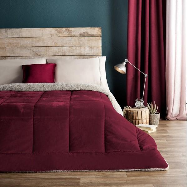 Κουβέρτες-Παπλώματα Μονά , Επιλεγμένες Συλλογές με ποιότητα και γούστο για κάθε δωμάτιο,160X220cm  Gofis Home Teddy 407/02 Μπορντώ βελούδινη με γούνα sheep shin στην πίσω όψη