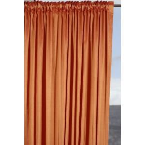 Κουρτίνα Έτοιμη Ραμμένη χωρίς διαφάνεια 140X270 FERRARA/22 πορτοκαλί  μονόχρωμος ταφτάς με απλή συνεχόμενη τρέσα 8εκ