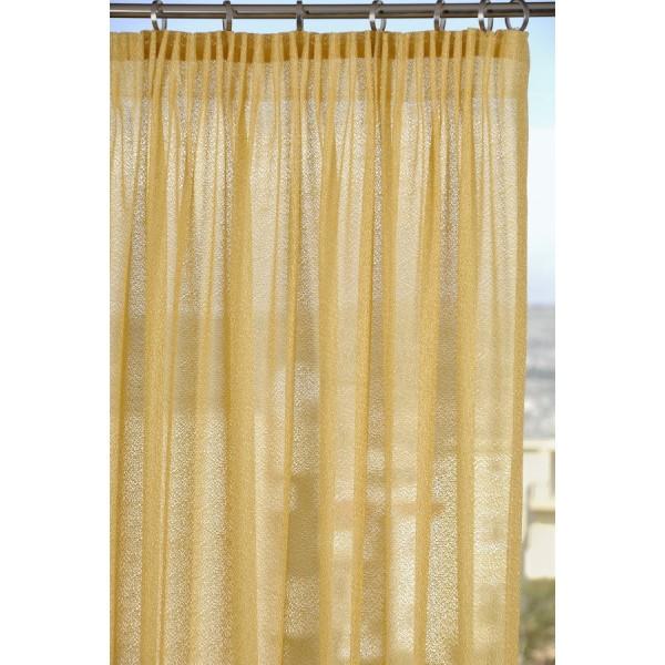 Κουρτίνες Έτοιμες Ραμμένες Υφάσματα για Σαλόνι , Καθιστικό, Τραπεζαρία , Υπνοδωμάτιο ημι-διάφανη 140Χ270 SEYHELLES/10 κίτρινο μονόχρωμο δίχτυ με απλή συνεχόμενη τρέσα 8εκ πολυεστερική