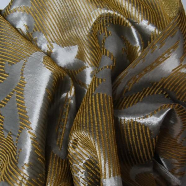 Κουρτινες Προσφορα - Υφάσματα Κουρτίνες με το μέτρο για Σαλόνι , Καθιστικό, Τραπεζαρία , Υπνοδωμάτιο ,Έπιπλα ELITE CLASSIC 16-302 χρυσαφί ζακαρ chenille με ασημί μοτίβο Φ300 πολυεστερικό