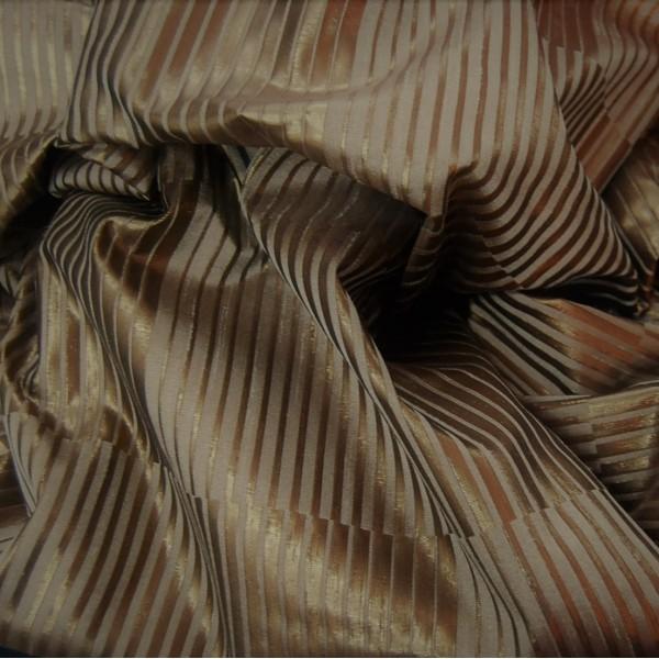 Κουρτινες Προσφορα - Υφάσματα Κουρτίνες με το μέτρο για Σαλόνι , Καθιστικό, Τραπεζαρία , Υπνοδωμάτιο ,Έπιπλα DAZZLE/ 503 χαλκός ταφτάς με γραμμικό σχέδιο Φ280 πολυεστερικό