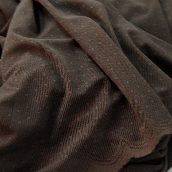 Κουρτινες Προσφορα - Κουρτίνες Υφάσματα με το μέτρο για Σαλόνι , Καθιστικό, Τραπεζαρία , Υπνοδωμάτιο R1071/ καφέ πουά δαντέλα Φ300 πολυεστερική
