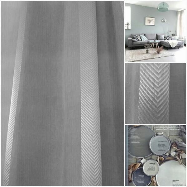 Κουρτινες - Κουρτίνες Έτοιμες Ραμμένες Υφάσματα για Σαλόνι , Καθιστικό, Τραπεζαρία , Υπνοδωμάτιο ημι-διάφανη 140X270 1863/19 γκρι μονόχρωμη με ρίγα-fishbone με απλή συνεχόμενη τρέσα 8εκ πολυεστερική