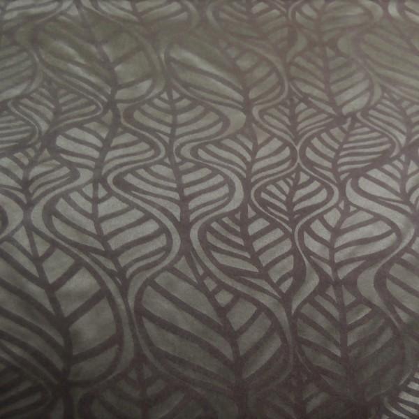 Υφάσματα Κουρτίνες με το μέτρο για Σαλόνι , Καθιστικό, Τραπεζαρία , Υπνοδωμάτιο ,Έπιπλα 478/2484/1 καφέ λαδί φύλλο ανάγλυφο suede Φ140 πολυεστερικό