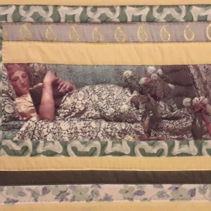 BAZAAR - Πίνακας πάτσγουορκ σε λαδο-πράσινους τόνους με απεικόνιση γυναικείας μορφής τυπωμένης πάνω σε ύφασμα
