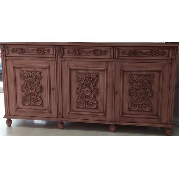 BAZAAR - Μπουφέ με ανάγλυφο μοτίβο vintage ξύλο μασίφ καρυδιά με τρία συρτάρια και εσωτερικό ράφι