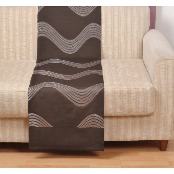 BAZAAR -Ριχτάρια Τριθέσιου για καναπέδες καθιστικού, 170Χ280 Pacific Brown κυματοειδές