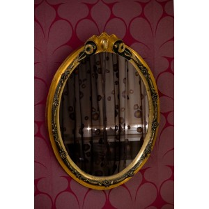 BAZAAR -Καθρέφτης οβάλ ξύλινος χρυσός αντικέ