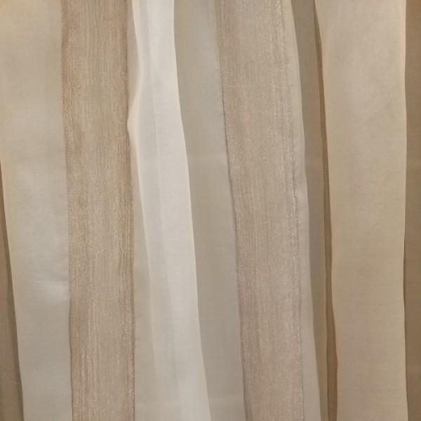 Κουρτινες - Κουρτίνες Έτοιμες Ραμμένες Υφάσματα για Σαλόνι , Καθιστικό, Τραπεζαρία , Υπνοδωμάτιο 400X250 Melrose μπεζ ριγέ μεταξωτή με ραφή κανονάκι, με ημι-διαφάνεια