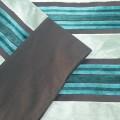 BAZAAR -Ριχτάρια Τριθέσιου για καναπέδες καθιστικού, 170Χ280 τυρκουαζ ριγέ ανάγλυφο βελούδο με φάσα μονόχρωμη