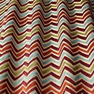 Υφάσματα Κουρτίνες με το μέτρο για Σαλόνι ,Υπνοδωμάτιο ,Καθιστικό iLiv_Carnival Auburn πολύχρωμο γεωμετρικό zig-zag βελούδο Φ140 χωρίς διαφάνεια