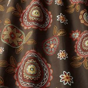 Υφασματα για Κουρτινες - Υφάσματα Κουρτίνες με το μέτρο για Σαλόνι ,Υπνοδωμάτιο ,Καθιστικό iLiv_Couture Cedar πολύχρωμο κεντημένο floral μοτίβο με κύκλους, λουλούδια και φύλλα σε καφέ φόντο βαμβακερό /λινό Φ140 χωρίς διαφάνεια