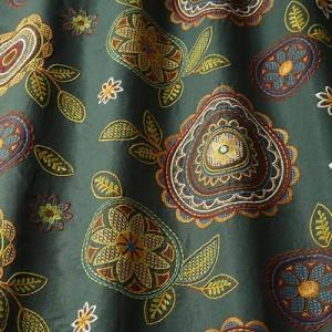 Υφασματα για Κουρτινες - Υφάσματα Κουρτίνες με το μέτρο για Σαλόνι ,Υπνοδωμάτιο ,Καθιστικό iLiv_Couture Forest πολύχρωμο κεντημένο floral μοτίβο με κύκλους, λουλούδια και φύλλα σε καφέ φόντο βαμβακερό /λινό Φ140 χωρίς διαφάνεια