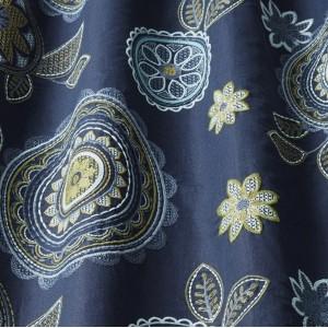 Υφασματα για Κουρτινες - Υφάσματα Κουρτίνες με το μέτρο για Σαλόνι ,Υπνοδωμάτιο ,Καθιστικό iLiv_Couture Midnight πολύχρωμο κεντημένο floral μοτίβο με κύκλους, λουλούδια και φύλλα σε καφέ φόντο βαμβακερό /λινό Φ140 χωρίς διαφάνεια