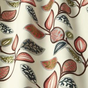 Υφασματα για Κουρτινες - Υφάσματα Κουρτίνες με το μέτρο για Σαλόνι ,Υπνοδωμάτιο ,Καθιστικό iLiv_Farleigh Auburn πολύχρωμο κεντημένο floral σχέδιο φύλλων σε φόντο εκρού βαμβακερό Φ140 χωρίς διαφάνεια