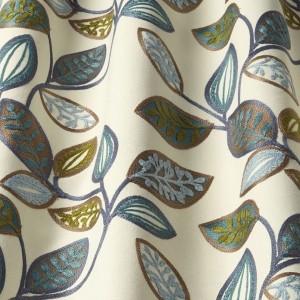 Υφασματα για Κουρτινες - Υφάσματα Κουρτίνες με το μέτρο για Σαλόνι ,Υπνοδωμάτιο ,Καθιστικό iLiv_Farleigh Midnight πολύχρωμο κεντημένο floral σχέδιο φύλλων σε φόντο εκρού βαμβακερό Φ140 χωρίς διαφάνεια