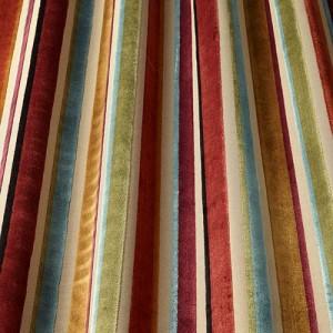 Υφάσματα Κουρτίνες με το μέτρο για Σαλόνι ,Υπνοδωμάτιο ,Καθιστικό iLiv_Festival Auburn πολύχρωμο γεωμετρικό ριγέ βελούδο Φ140 χωρίς διαφάνεια
