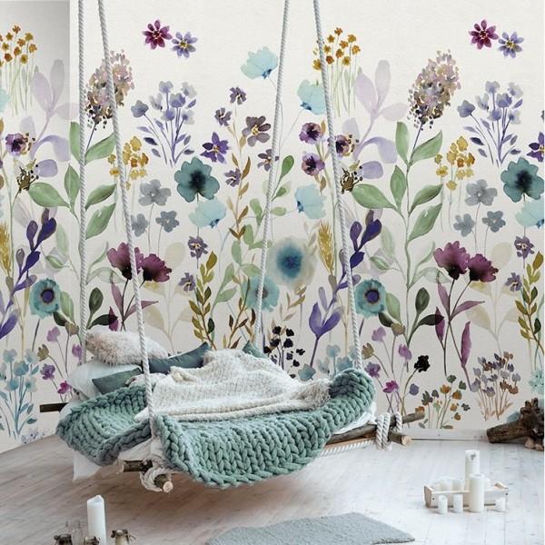 Ταπετσαρίες Τοίχου για όλο το σπίτι , για παιδικά δωμάτια, για κορίτσια , για αγόρια , Lk_Colorful Ink7281 Aqua garden floral Digital Print Vlies – Non Woven