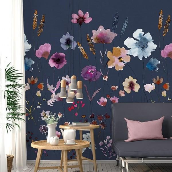 Ταπετσαρίες Τοίχου για όλο το σπίτι , για παιδικά δωμάτια, για κορίτσια , για αγόρια , Lk_Colorful Ink7285 Meadow Love blue floral Digital Print Vlies – Non Woven