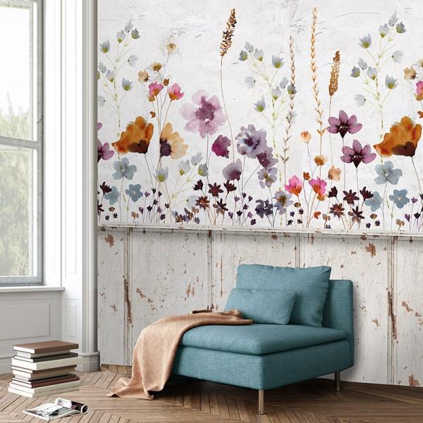 Ταπετσαρίες Τοίχου για όλο το σπίτι , για παιδικά δωμάτια, για κορίτσια , για αγόρια , Lk_Colorful Ink7289 Meadowfloral Lambri floral Digital Print Vlies – Non Woven