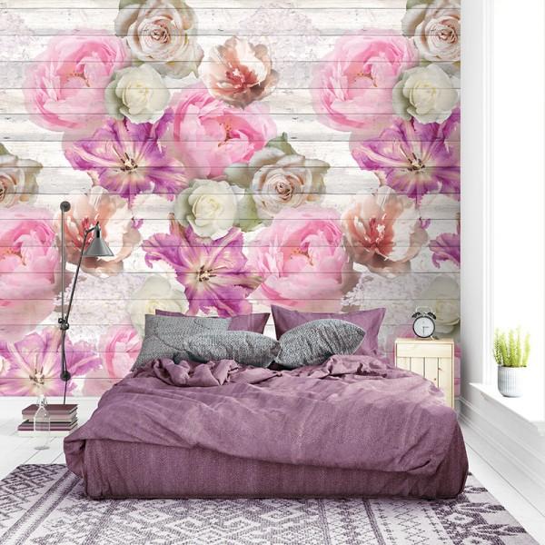 Ταπετσαρίες Τοίχου για όλο το σπίτι , για παιδικά δωμάτια, για κορίτσια , για αγόρια , Lk_Colorful Ink7295 Tulips on wood Floral Digital Print Vlies – Non Woven