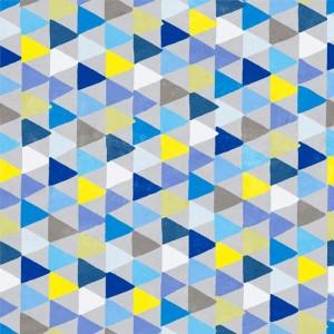 Κουρτίνες με το μέτρο για παιδικά δωμάτια, για κορίτσια , για αγόρια , για bebe δωμάτια Diedro 01 τρίγωνα σε μπλε αποχρώσεις Digital Print βαμβακερό Φ280 χωρίς διαφάνεια