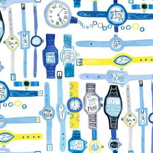 Κουρτίνες με το μέτρο για παιδικά δωμάτια, για κορίτσια , για αγόρια , για bebe δωμάτια Fun times 01 ρολόγια σε μπλε αποχρώσεις Digital Print βαμβακερό Φ280 χωρίς διαφάνεια