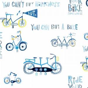 Κουρτίνες με το μέτρο για παιδικά δωμάτια, για κορίτσια , για αγόρια , για bebe δωμάτια Wheels 01 ποδήλατα σε μπλε αποχρώσεις Digital Print βαμβακερή γάζα Φ280 ημι-διάφανηι